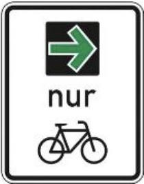 Grünpfeil-Schild für Radfahrer